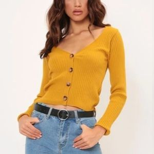 H&M Mustard Yellow Long Sleeve Crop Knit Sweater